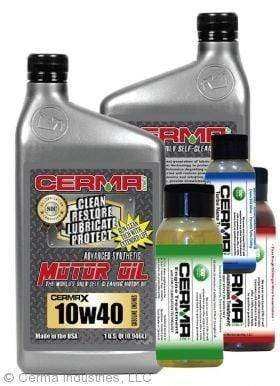 CERMA PERFORMANCE - RACING VALUE PACKAGE-With Automatic Transmission 2oz for auto 10w40 Performance Package / 5 Quarts / Yes - Add Turbo-Induction Treatment 1 oz for auto Value Package Savings cermatreatment.com