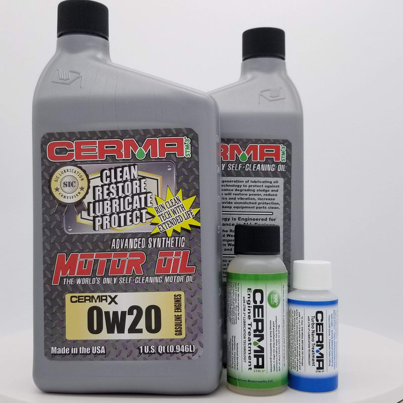 CERMA PERFORMANCE - RACING VALUE PACKAGE-With Manual Transmission 2oz for auto 0w20 Performance Package / 5 Quarts / Yes - Add Turbo-Induction Treatment 1 oz for auto Value Package Savings cermatreatment.com