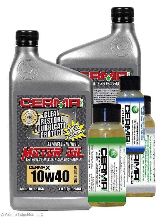 CERMA PERFORMANCE - RACING VALUE PACKAGE-With Manual Transmission 2oz for auto 10w40 Performance Package / 5 Quarts / Yes - Add Turbo-Induction Treatment 1 oz for auto Value Package Savings cermatreatment.com