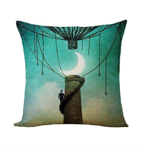 Moon Light Series Decorative Cushion Cover Cotton Linen Pillowcase Decor