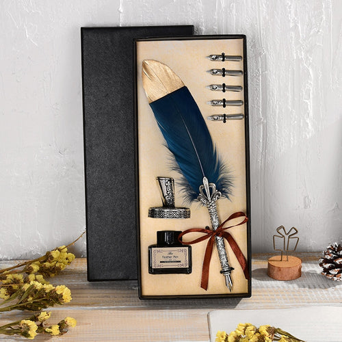 Gorgeous Retro Writing Feather Pen with Gold Dipped Tip in Exquisite Gift Box Set