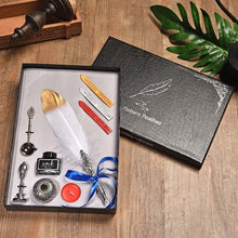 Load image into Gallery viewer, Gold Dipped Feather Pen with Wax Seal, Stamp and Ink Gift Box Set - 10 Colors