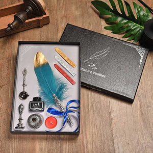 Gold Dipped Feather Pen with Wax Seal, Stamp and Ink Gift Box Set - 10 Colors