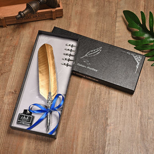 Completely Gold & Silver Vintage Feather Pen With Ink Gift Set