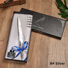 Load image into Gallery viewer, Completely Gold & Silver Vintage Feather Pen With Ink Gift Set