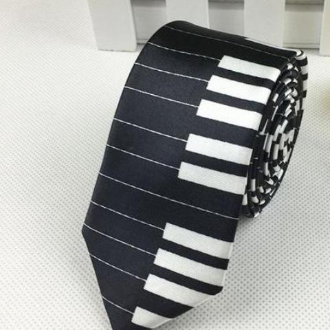 Piano Keys on Black Skinny Tie
