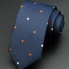 White and Pumpkin Dotted Skinny Tie