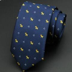 Little Yellow Dog on Blue Skinny Tie