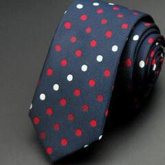 Red and White Dots on Blue Skinny Tie