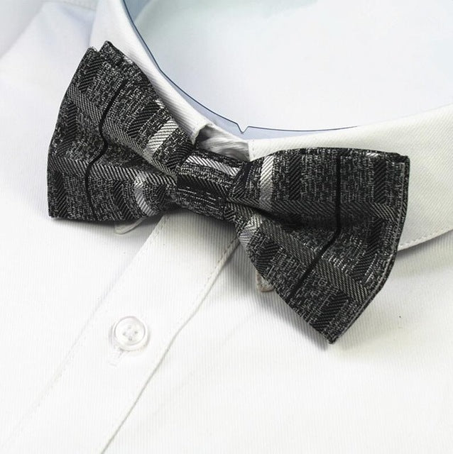 Needlepoint Grey and Black Bowtie