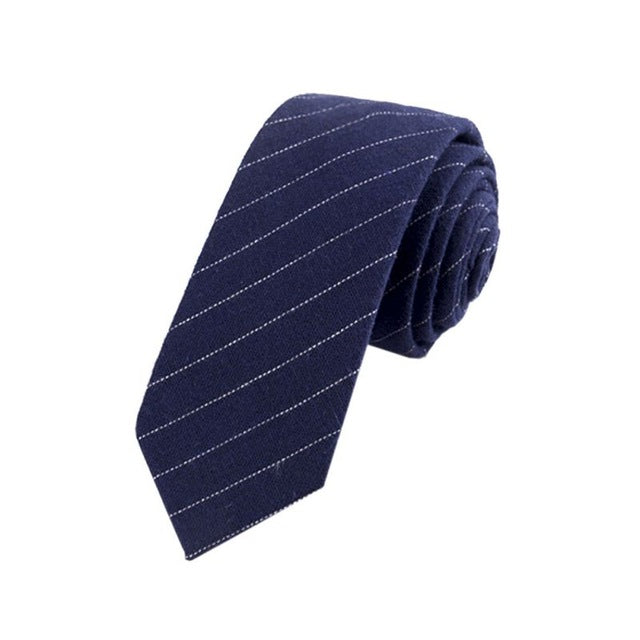 Navy Striped Skinny Tie