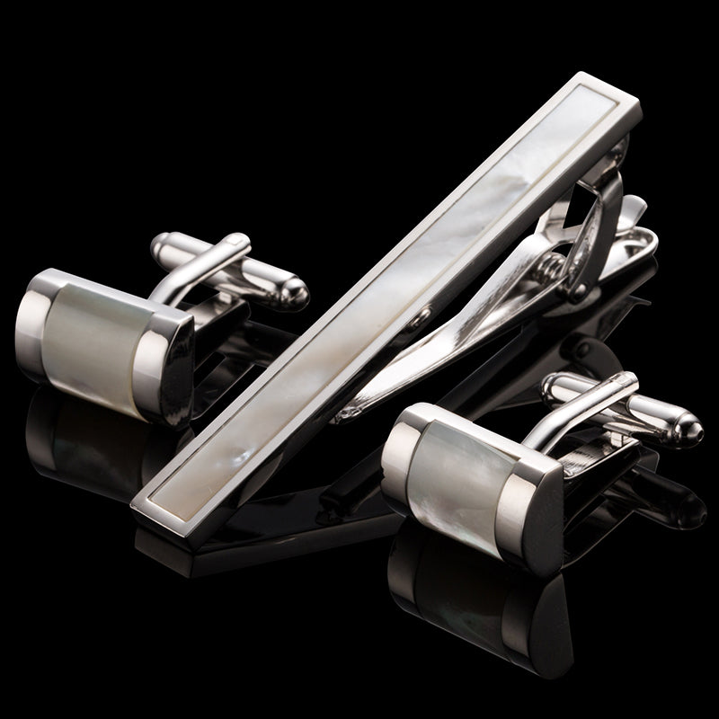 Mother of Pearl Tie Clips and Cufflinks