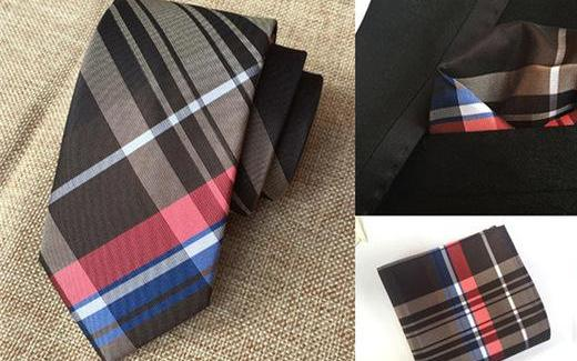 Touch of Blue and Red Skinny Tie and Pocket Square Set