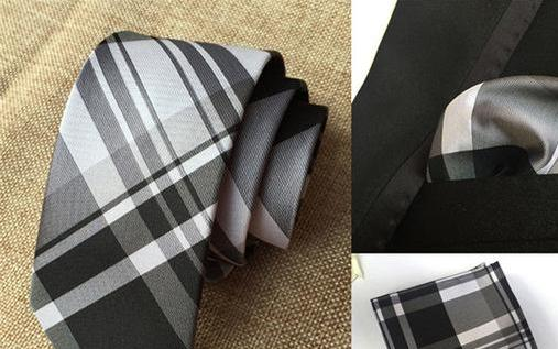 Onyx Black with White Plaids Necktie and Pocket Square Set