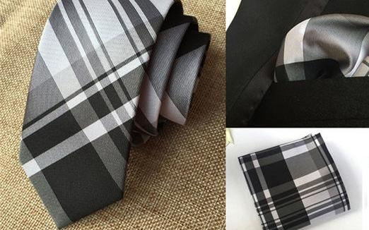 Skinny Tie and Square Black Plaid II Set