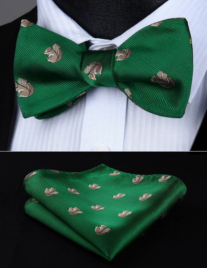 Squirrel on Green Bowtie and Handkerchief
