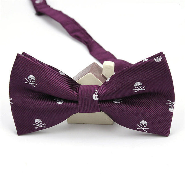 White Skulls on Purple Bowtie