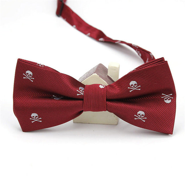 White Skulls on Maroon Bowtie