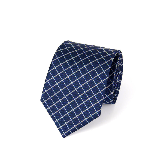 Traditional Business White Square on Blue Tie