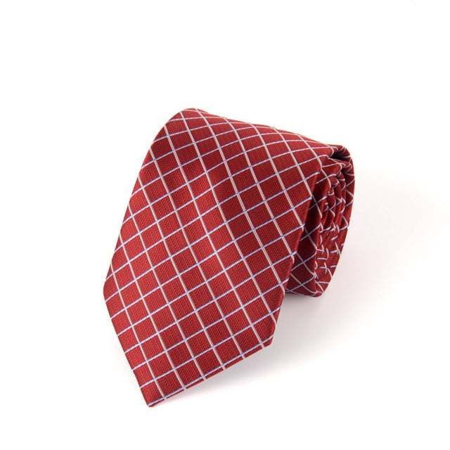 Traditional Business White Square on Red Tie
