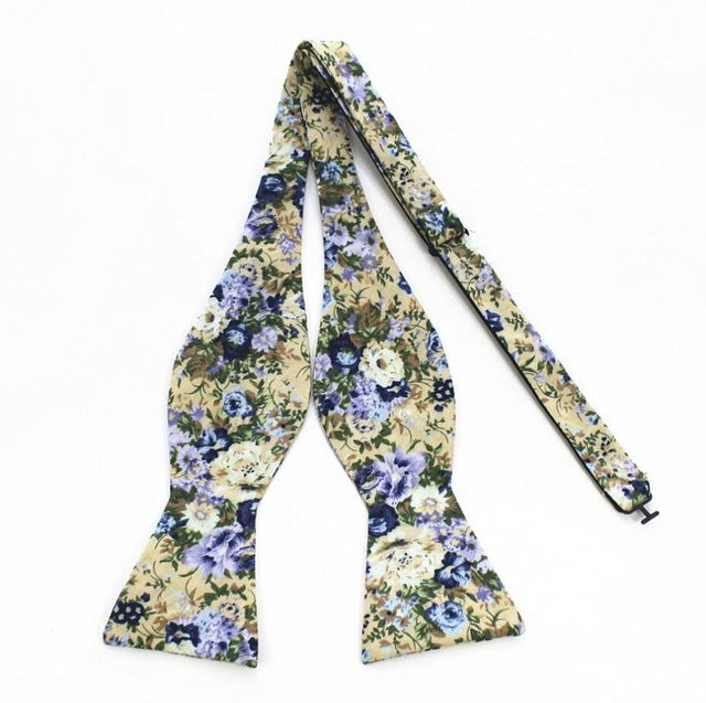 Yellow and Violet Floral Bowtie