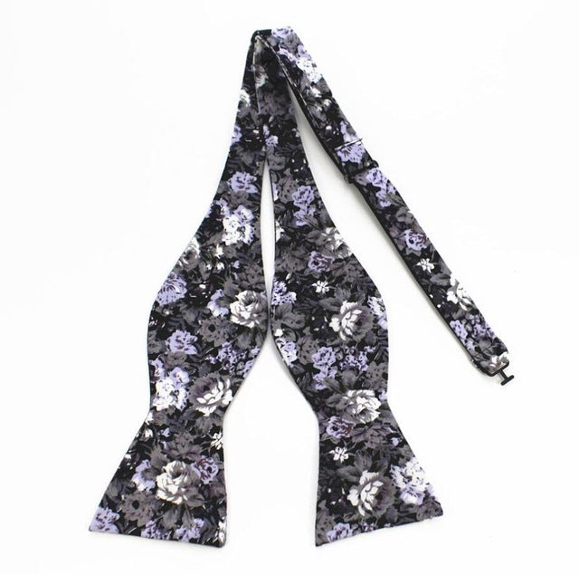 Violet and Black Floral Bowtie