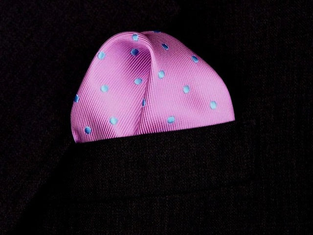 Square Pink with Blue Dots