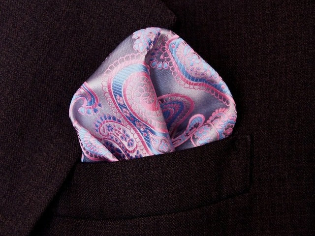 Pink and Light Blue Paisley Pocket Square