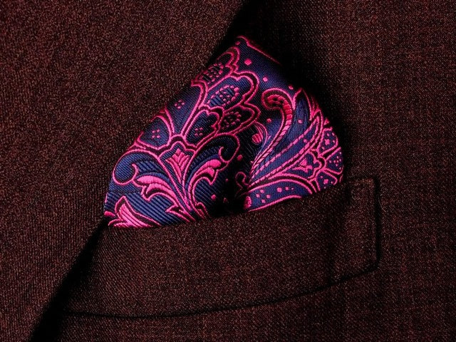 Square Pink and Blue Paisley
