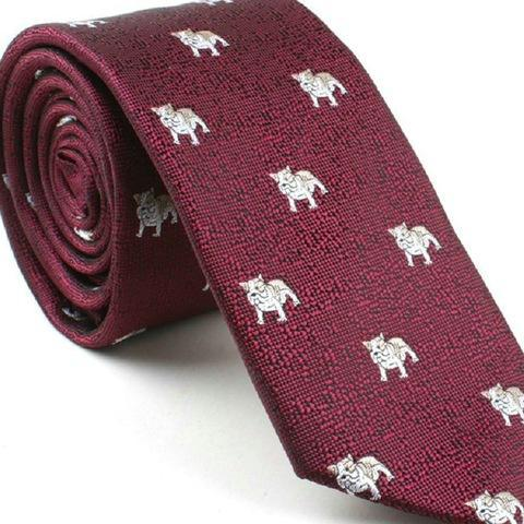 Silver Bulldogs on Red Skinny Tie