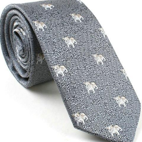 Silver Bulldogs on Grey Skinny Tie