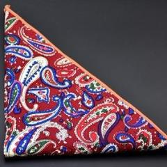 Square Cotton Paisley Red Mix