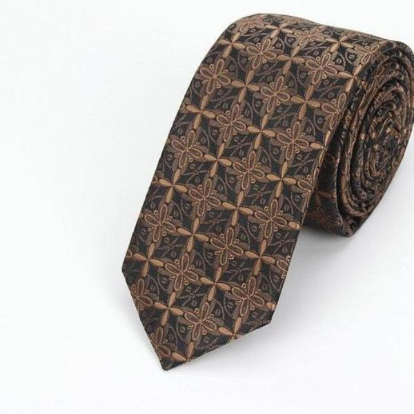 High Fashion Brown Windmill Skinny Tie