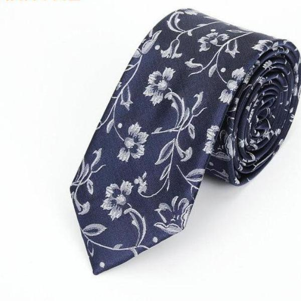 High Fashion Blue Floral Skinny Tie