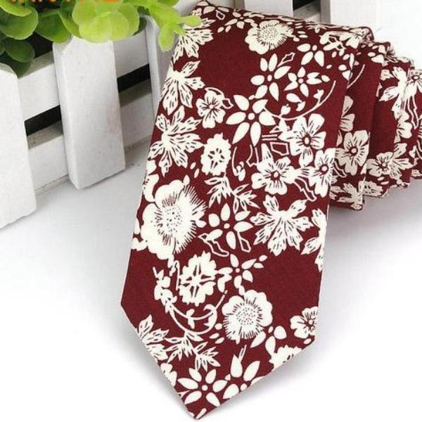 Flower Patch Red Skinny Tie