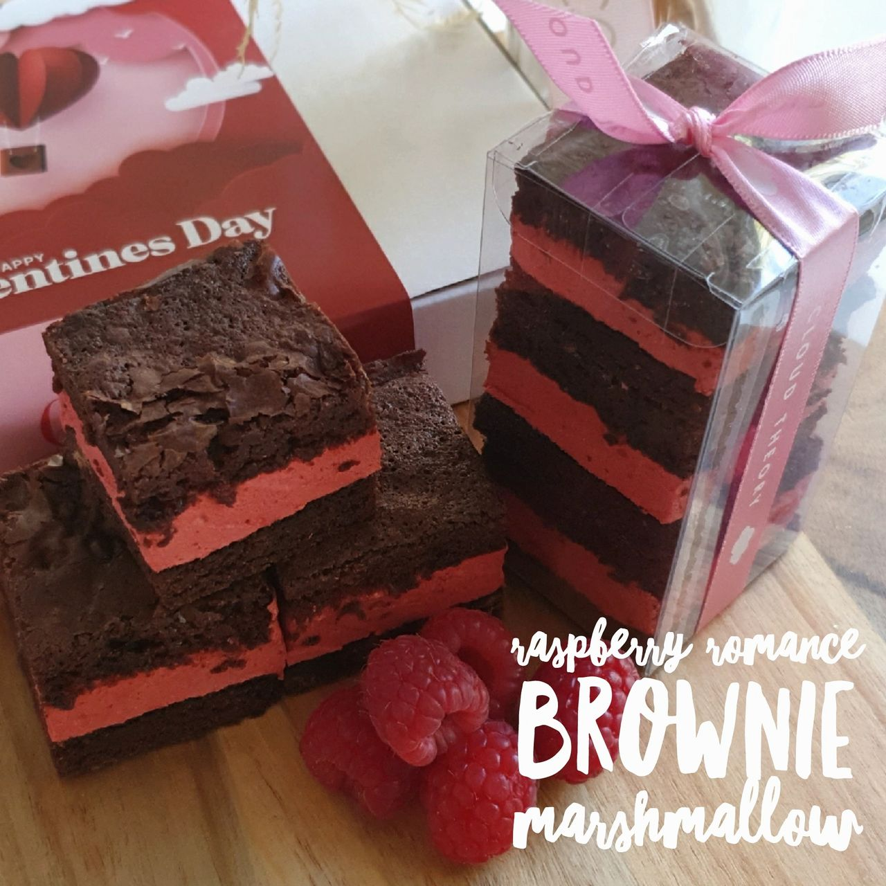 Raspberry Romance Marshmallow Brownie -A match made in heaven! We have paired raspberry flavoured marshmallows with our decadent brownie base to create one romantic treat!