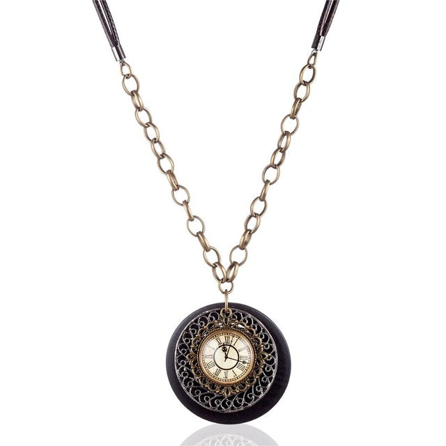 Wooden necklaces pendants vintage wood jewelry rome clock pendant wooden necklaces pendants vintage wood jewelry rome clock pendant long necklace mozeypictures Choice Image