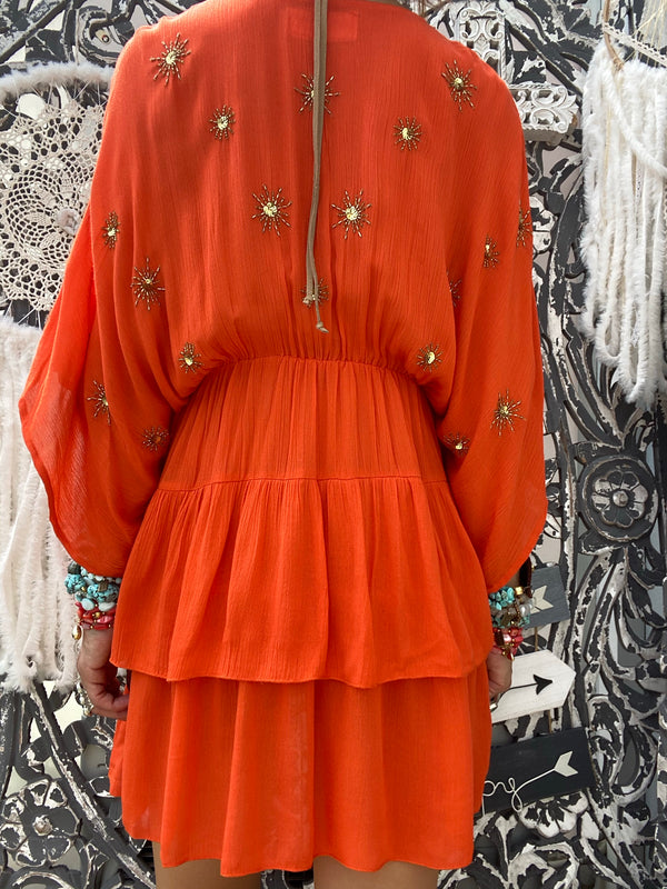 Robe courte Vera Tangerine/ Sun Embroideries Sundress