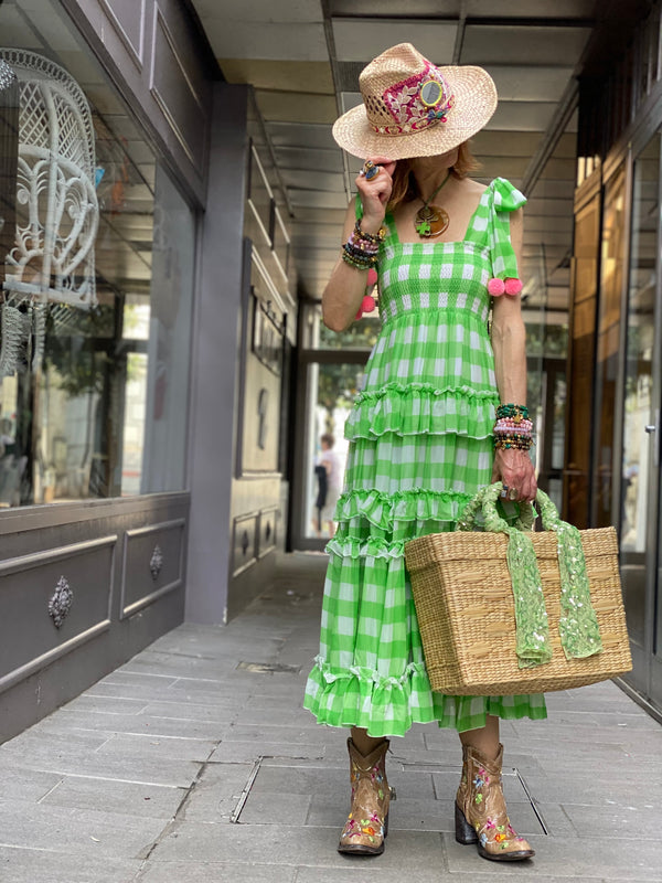 Robe Bérénice Gingham Lime Sundress