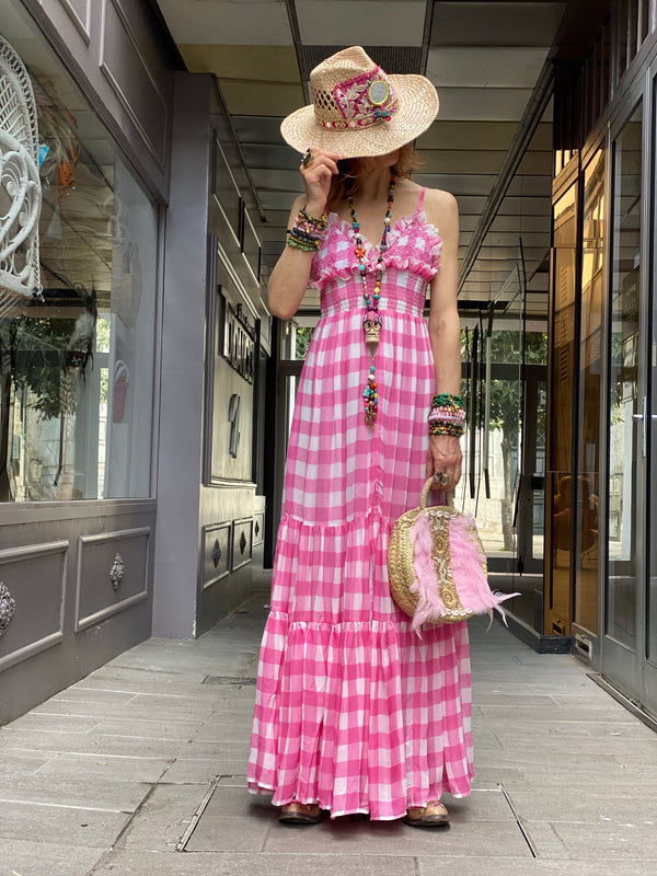 Robe Catalina Gingham Pink Sundress