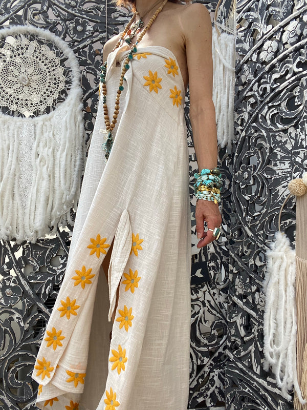 Robe Pampa Coconut/Curcuma Daisies Embroideries Sundress