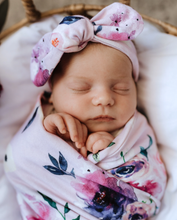 Floral Kiss Jersey wrap and Beanie Set