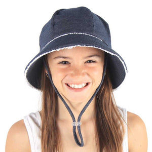 Bed Head Bucket Hat Denim Ruffle Trim