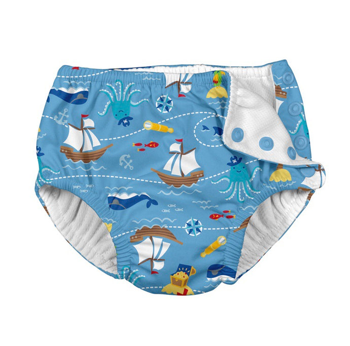 Blue Pirate Ship Swim Nappy