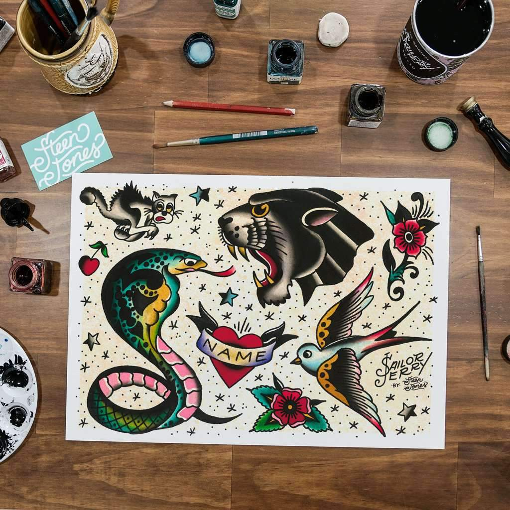 Steen Jones x Sailor Jerry 'Flash 10' Fine Art Print - Steenjones