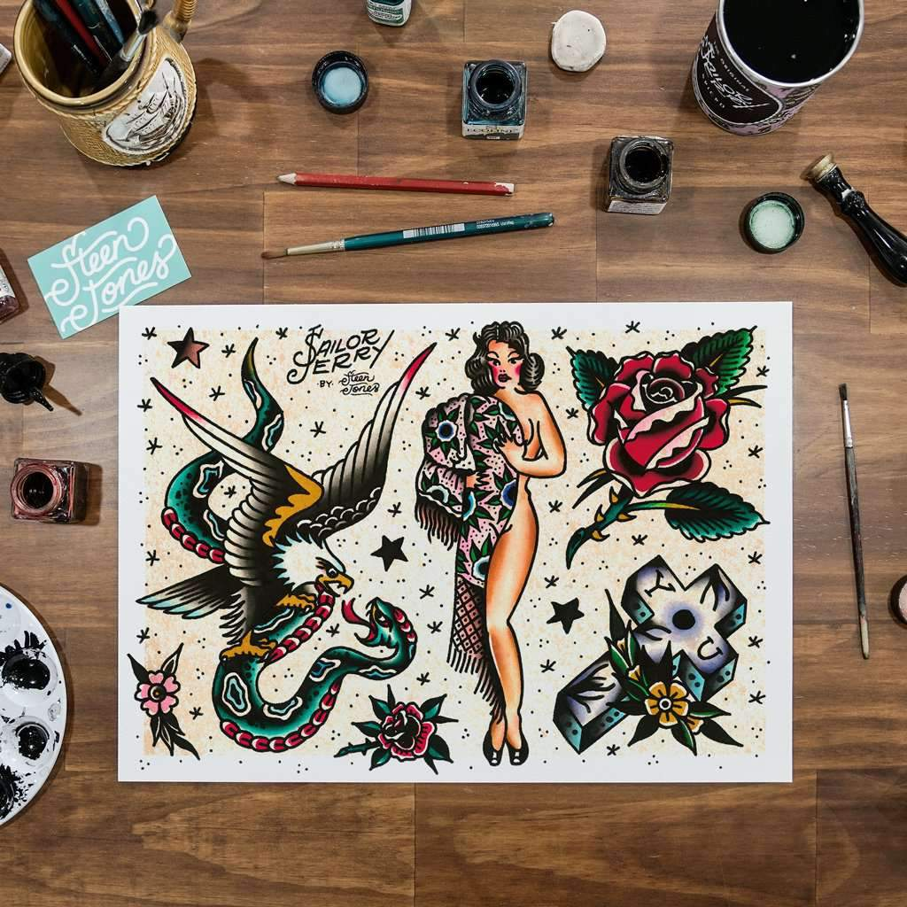 Steen Jones x Sailor Jerry 'Flash 1' Fine Art Print - Steenjones