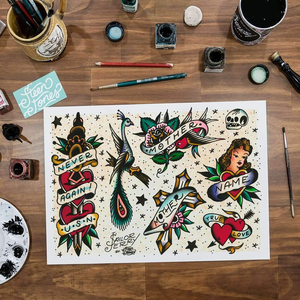 Steen Jones x Sailor Jerry 'Flash 2' Fine Art Print - Steenjones
