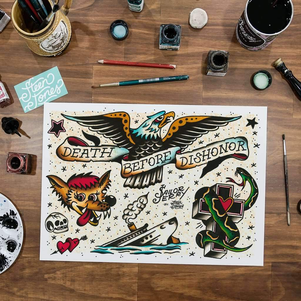 Steen Jones x Sailor Jerry 'Flash 3' Fine Art Print - Steenjones