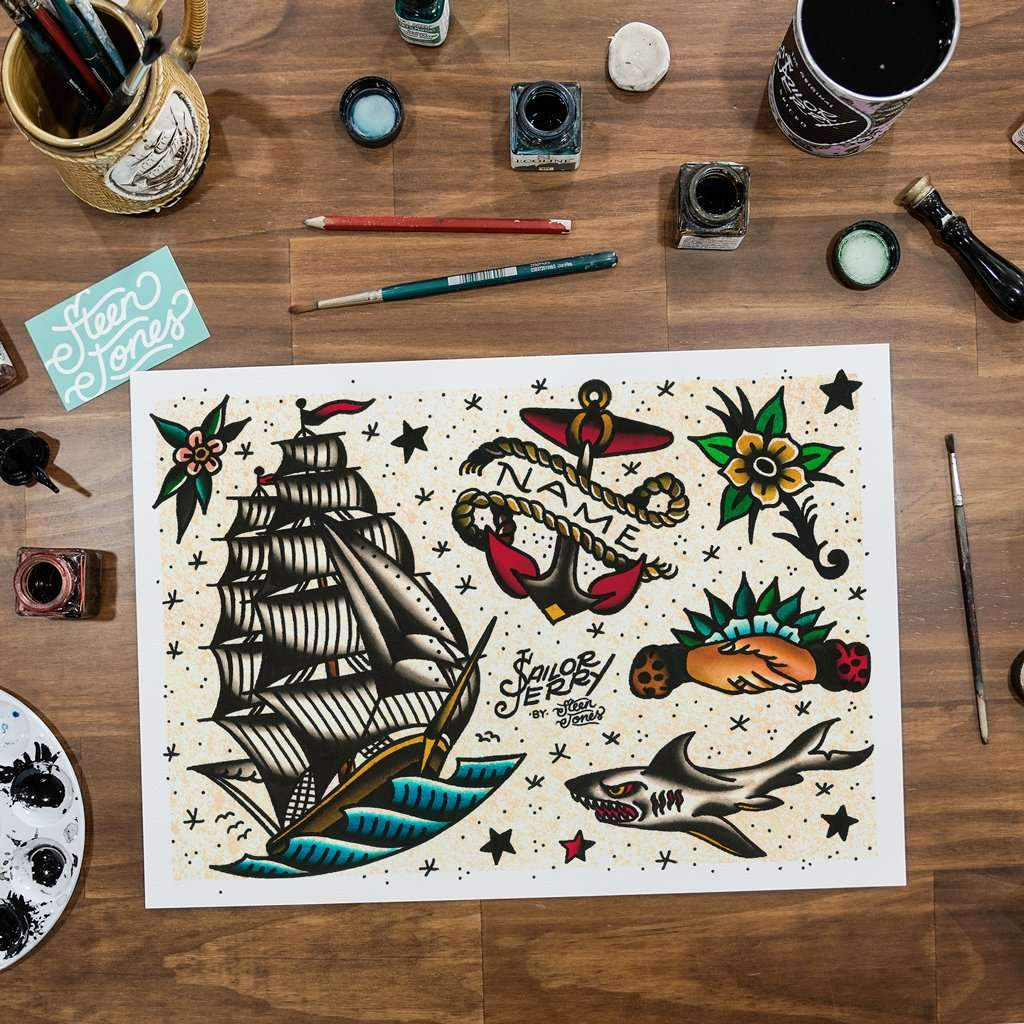 Steen Jones x Sailor Jerry 'Flash 4' Fine Art Print - Steenjones