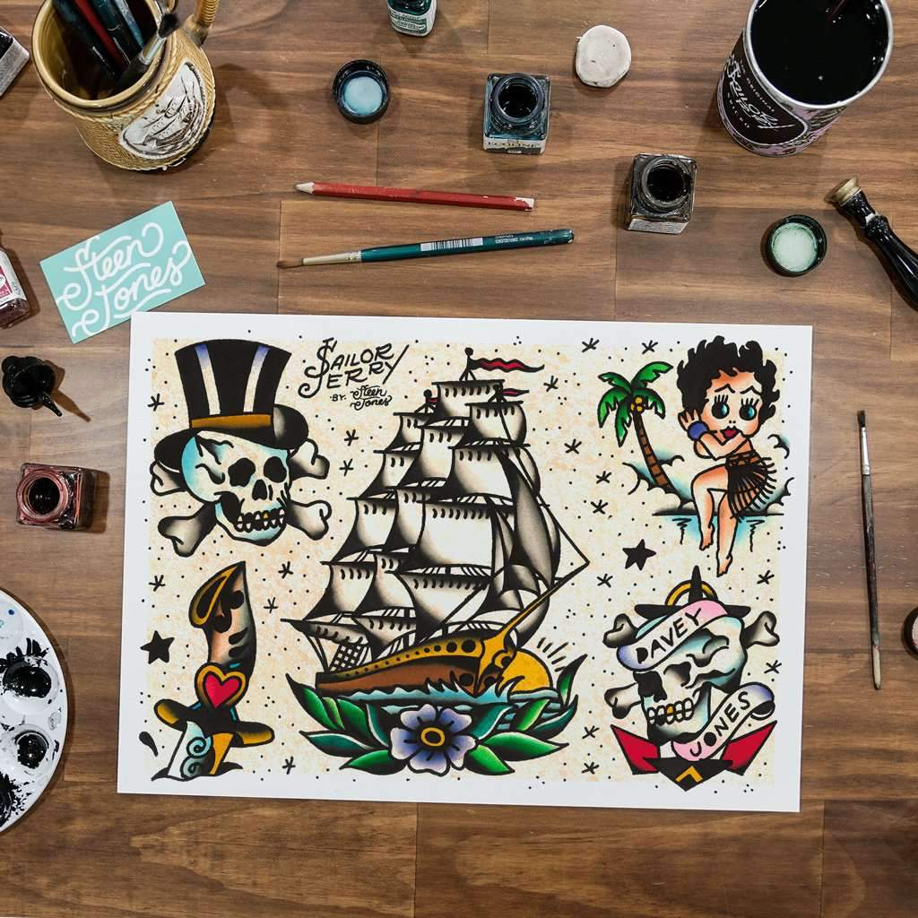 Steen Jones x Sailor Jerry 'Flash 5' Fine Art Print - Steenjones